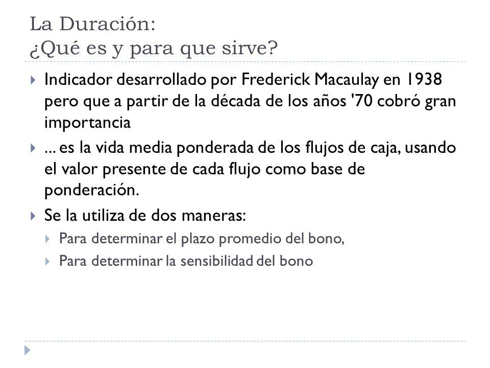 La Duración: ¿Qué es y para que sirve? Indicador desarrollado por Frederick Macaulay en 1938 pero que a partir de la década de los años '70 cobró gran