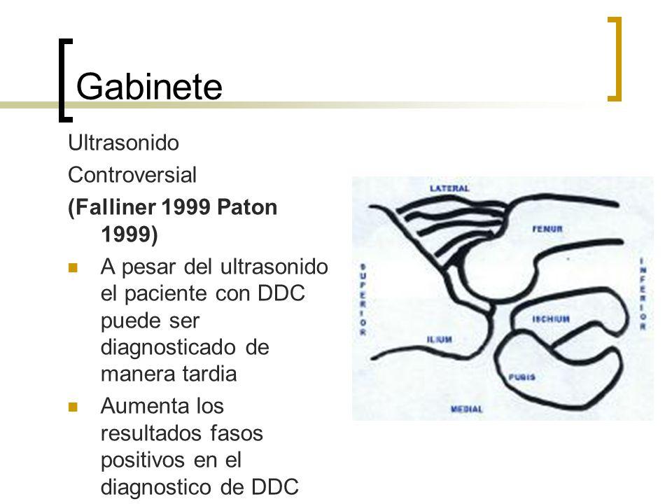 Gabinete Ultrasonido Controversial (Falliner 1999 Paton 1999) A pesar del ultrasonido el paciente con DDC puede ser diagnosticado de manera tardia Aum