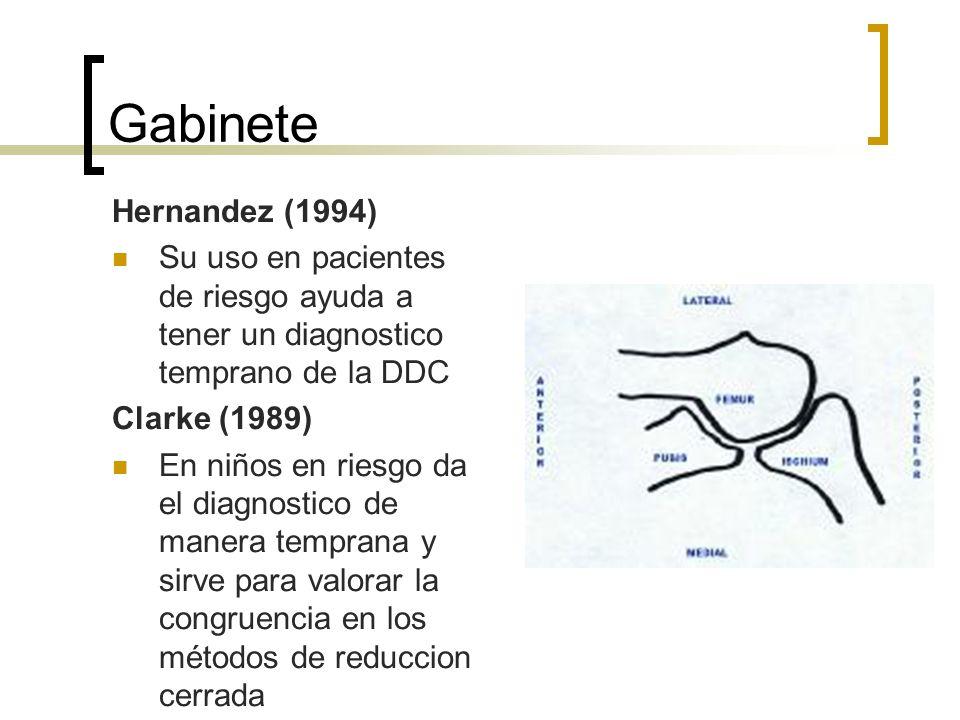 Gabinete Hernandez (1994) Su uso en pacientes de riesgo ayuda a tener un diagnostico temprano de la DDC Clarke (1989) En niños en riesgo da el diagnos