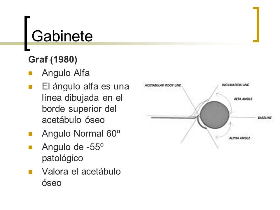 Gabinete Graf (1980) Angulo Alfa El ángulo alfa es una línea dibujada en el borde superior del acetábulo óseo Angulo Normal 60º Angulo de -55º patológ