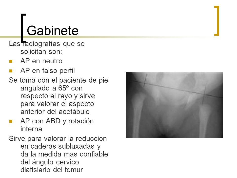 Gabinete Las radiografías que se solicitan son: AP en neutro AP en falso perfil Se toma con el paciente de pie angulado a 65º con respecto al rayo y s