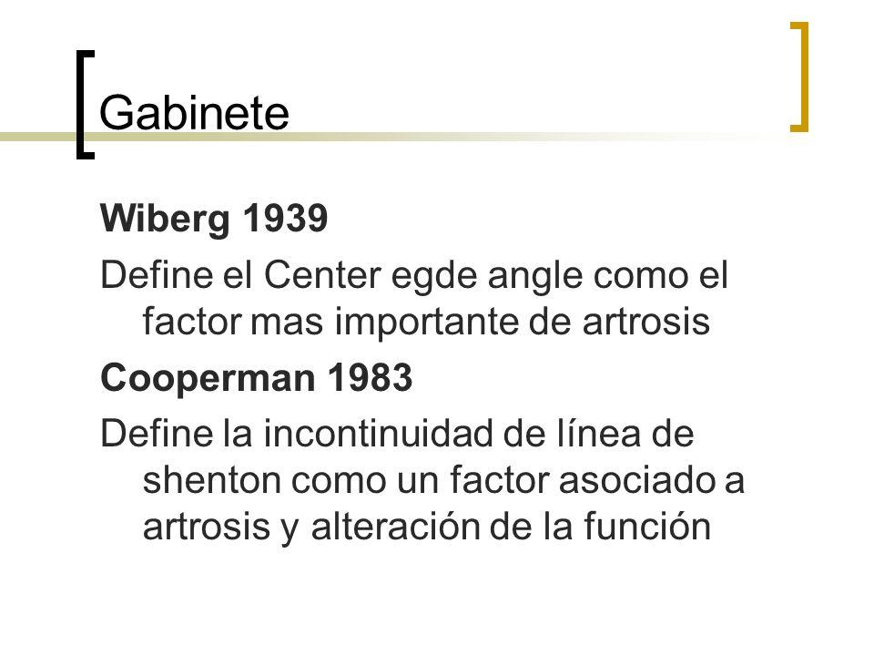 Gabinete Wiberg 1939 Define el Center egde angle como el factor mas importante de artrosis Cooperman 1983 Define la incontinuidad de línea de shenton