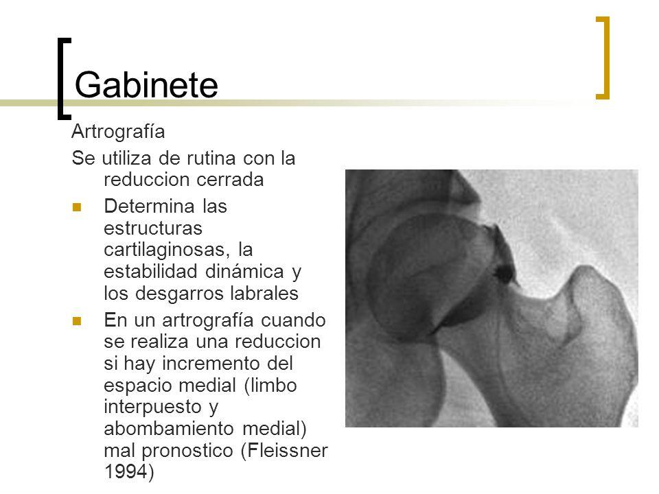 Gabinete Artrografía Se utiliza de rutina con la reduccion cerrada Determina las estructuras cartilaginosas, la estabilidad dinámica y los desgarros l