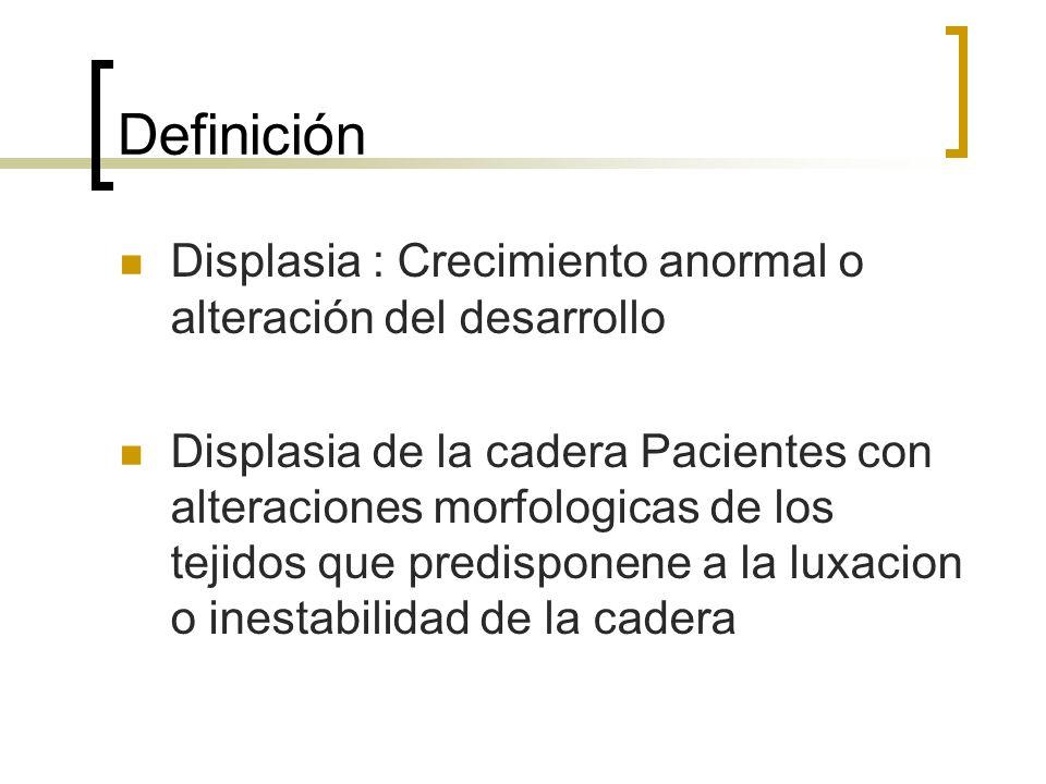 Definición Displasia : Crecimiento anormal o alteración del desarrollo Displasia de la cadera Pacientes con alteraciones morfologicas de los tejidos q