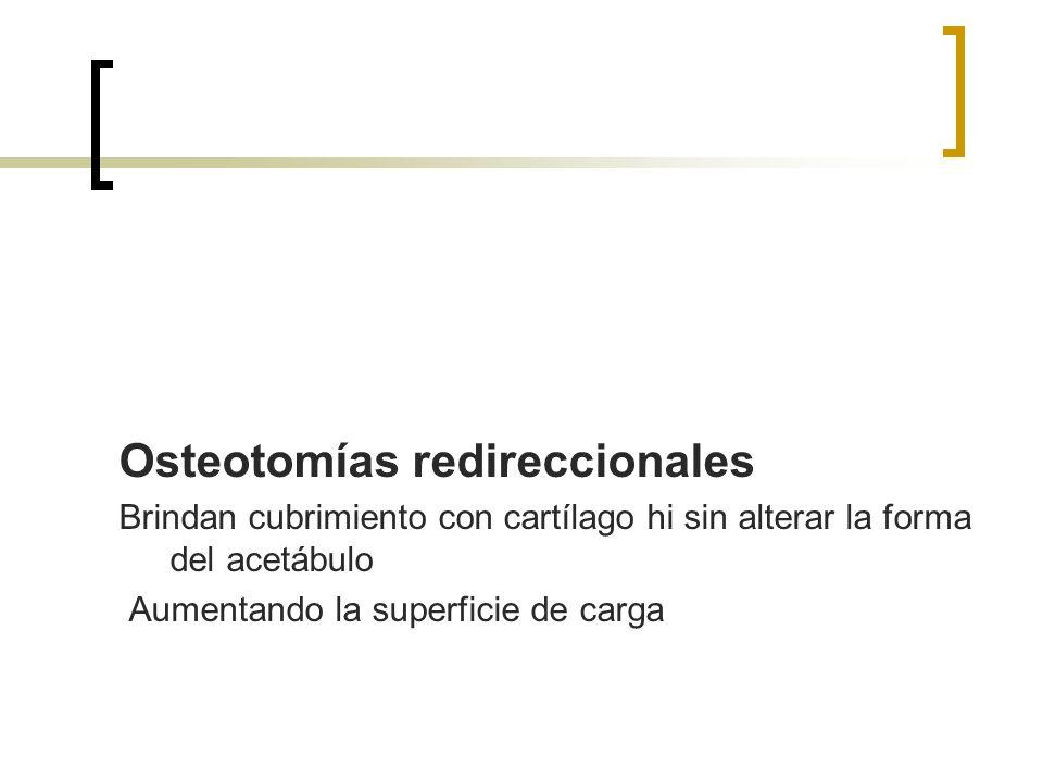 Osteotomías redireccionales Brindan cubrimiento con cartílago hi sin alterar la forma del acetábulo Aumentando la superficie de carga