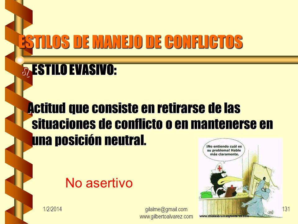1/2/2014gilalme@gmail.com www.gilbertoalvarez.com 130 b CONFLICTO PERSONA-ROLES: Resultado de las diferencias que surgen entre las presiones ejercidas
