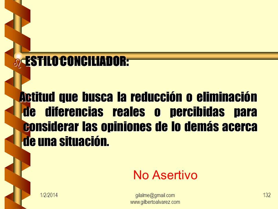 1/2/2014gilalme@gmail.com www.gilbertoalvarez.com 131 ESTILOS DE MANEJO DE CONFLICTOS b ESTILO EVASIVO: Actitud que consiste en retirarse de las situa