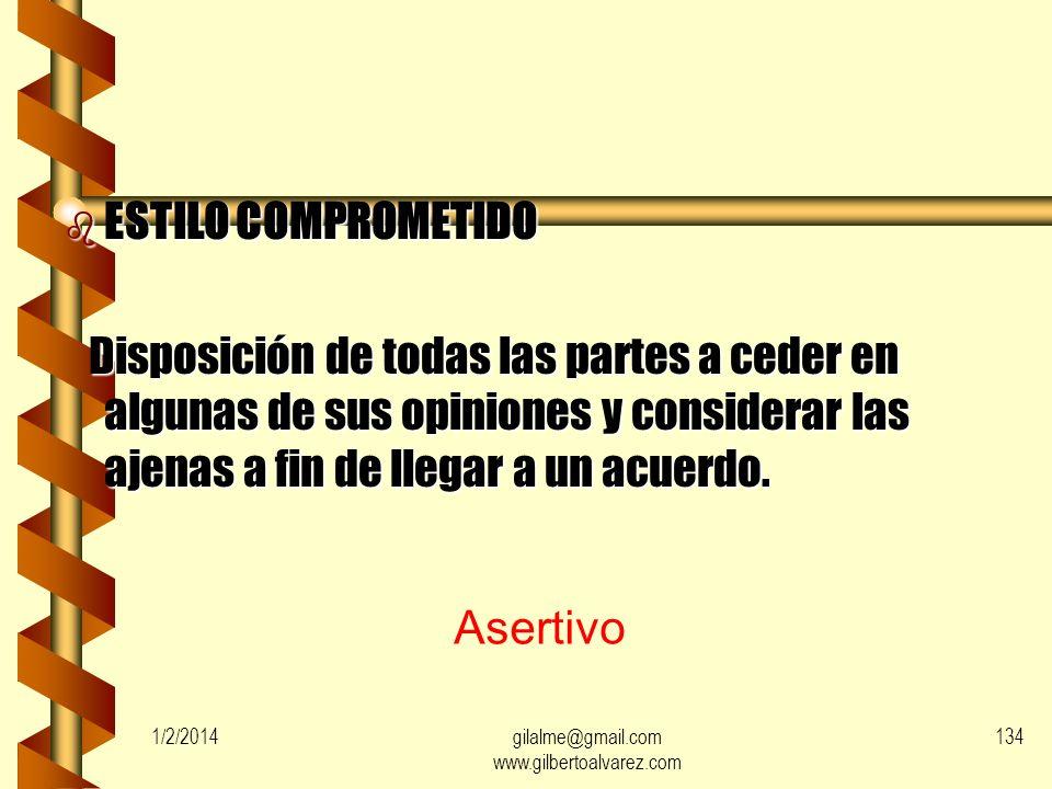1/2/2014gilalme@gmail.com www.gilbertoalvarez.com 133 b ESTILO DE FORZAMIENTO Actitud basada en usar las diferentes formas del poder, como el coerciti