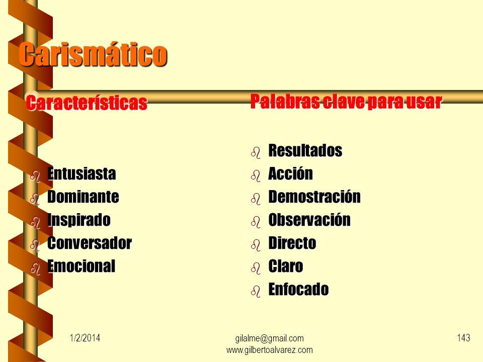 Controladores 9% Encantadores 25% Pensadores 11% Escépticos 19% Seguidores 36% 1/2/2014142gilalme@gmail.com www.gilbertoalvarez.com