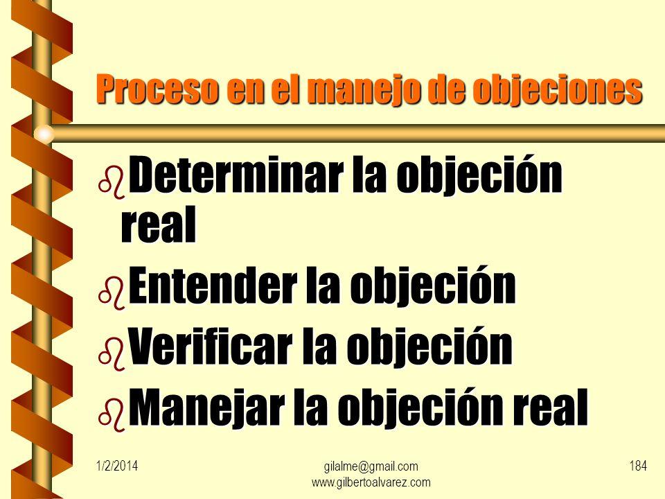 Objeciones mas comunes Definidas b Precio b Fidelidad b Reclamaciones b Calidad b Defecto b No tiene necesidad b Falta información b Orgullo Ocultas b