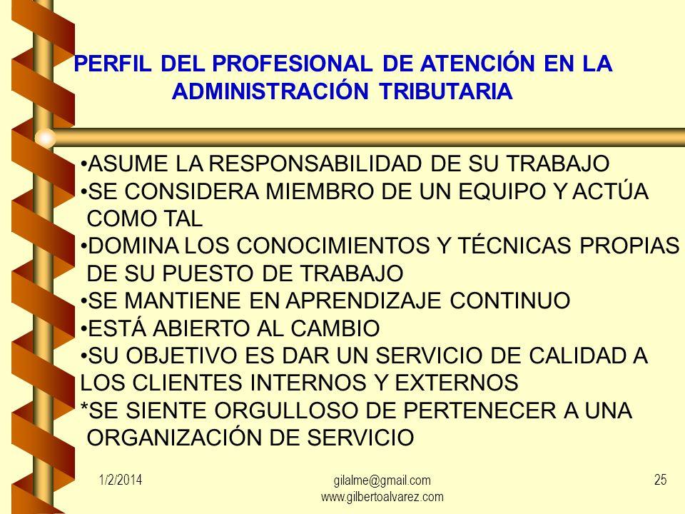 IMPORTANCIA DE LA ATENCIÓN AL CONTRIBUYENTE: LOS MOMENTOS DE LA VERDAD 1/2/201424gilalme@gmail.com www.gilbertoalvarez.com