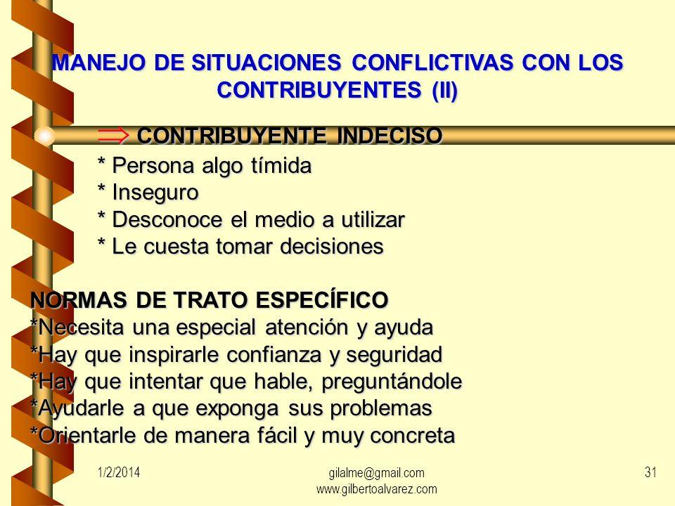 MANEJO DE SITUACIONES CONFLICTIVAS CON LOS CONTRIBUYENTES (I) CONTRIBUYENTE POLÉMICO CONTRIBUYENTE POLÉMICO * Provoca discusión * Pretende llevar siem