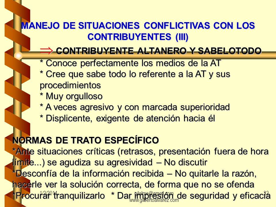 MANEJO DE SITUACIONES CONFLICTIVAS CON LOS CONTRIBUYENTES (II) CONTRIBUYENTE INDECISO CONTRIBUYENTE INDECISO * Persona algo tímida * Inseguro * Descon