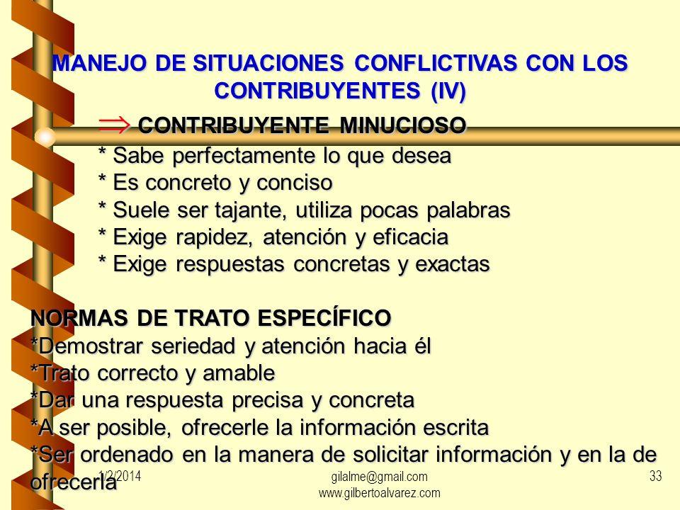 MANEJO DE SITUACIONES CONFLICTIVAS CON LOS CONTRIBUYENTES (III) CONTRIBUYENTE ALTANERO Y SABELOTODO CONTRIBUYENTE ALTANERO Y SABELOTODO * Conoce perfe