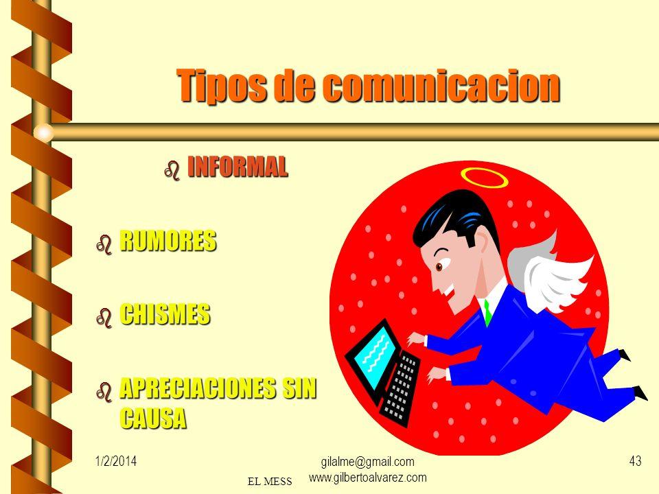 1/2/2014gilalme@gmail.com www.gilbertoalvarez.com 42 TIPOS DE COMUNICACIÓN b FORMAL b ASCENDENTE b DESCENDENTE b HORIZONTAL b CRUZADA