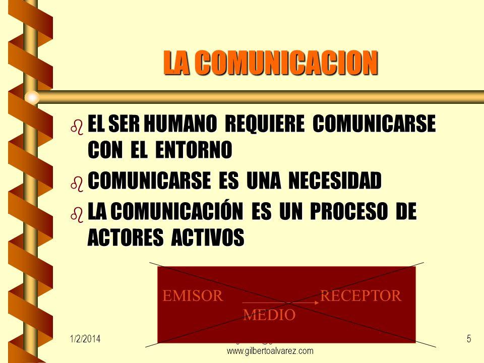 1/2/2014gilalme@gmail.com www.gilbertoalvarez.com 4 LA COMUNICACION b TIENE HABILIDADES DE COMUNICACIÓN QUIEN b MANEJA Y/0 SE PREOCUPA POR APRENDER b