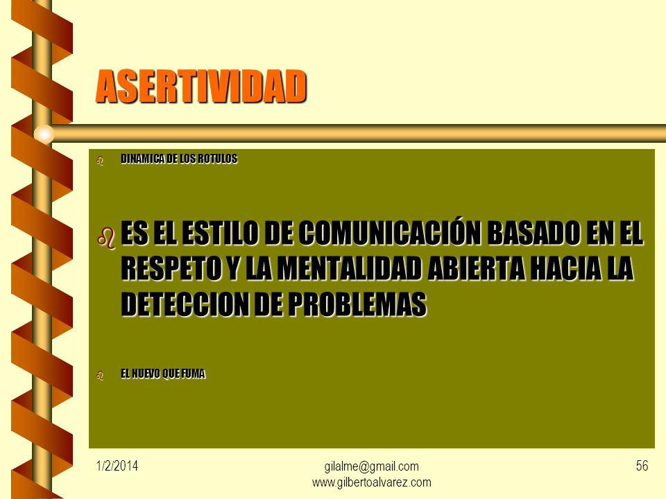 1/2/2014gilalme@gmail.com www.gilbertoalvarez.com 55 HABILIDAD PARA DAR ORDENES b PROMOVER PARTICIPACION DE LOS IMPLICADOS b DEMOSTRAR CONFIANZA CON E
