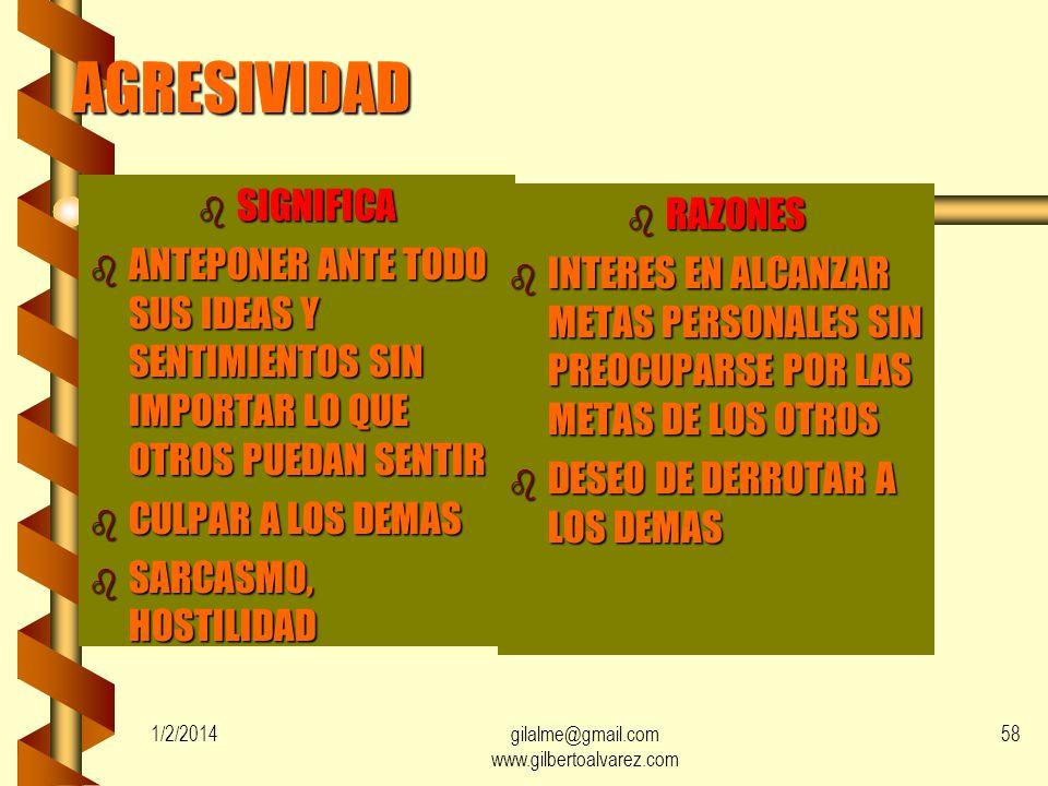 1/2/2014gilalme@gmail.com www.gilbertoalvarez.com 57 SUMISION b SIGNIFICA b CEDER LAS SOLICITUDES DE LOS DEMAS b NO ANTEPONER IDEAS, NECESIDADES Y SEN