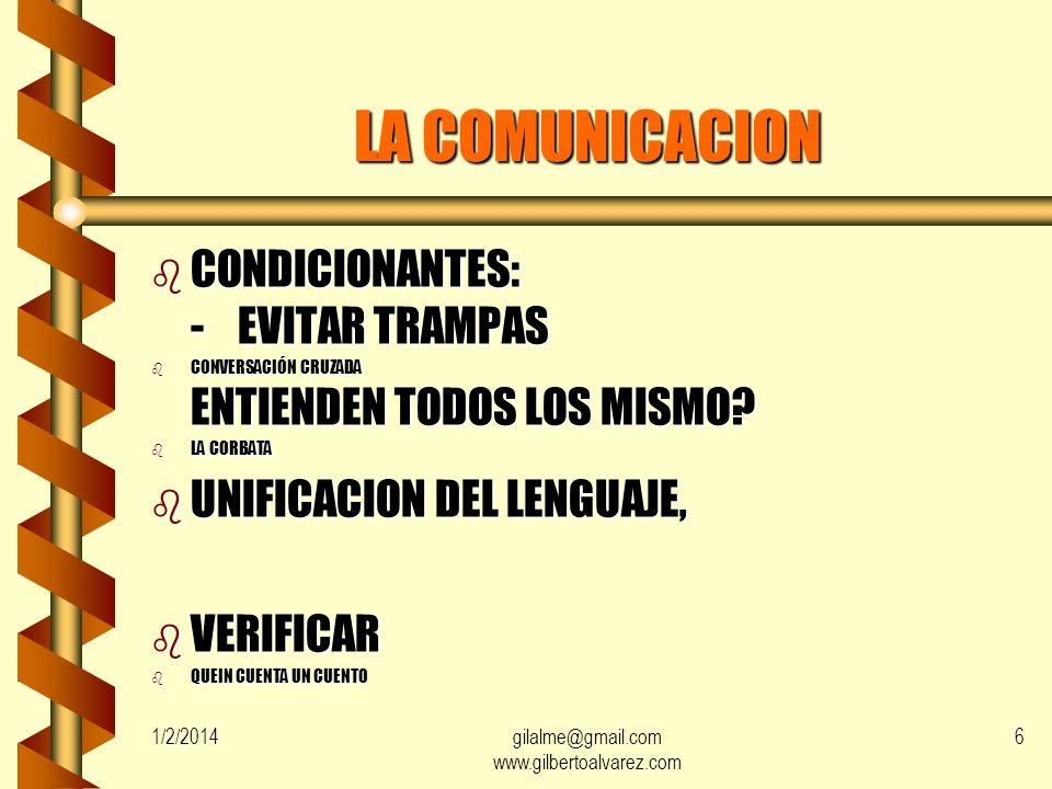 1/2/2014gilalme@gmail.com www.gilbertoalvarez.com 5 LA COMUNICACION b EL SER HUMANO REQUIERE COMUNICARSE CON EL ENTORNO b COMUNICARSE ES UNA NECESIDAD