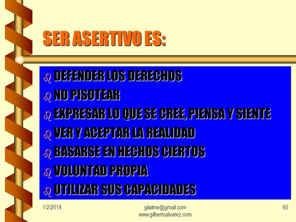 1/2/2014gilalme@gmail.com www.gilbertoalvarez.com 59FIRMEZA b SIGNIFICA b ANTEPONER NECESIDADES, IDEAS Y LOS SENTIMIENTOS PERSONALES, PERO RESPETANDO