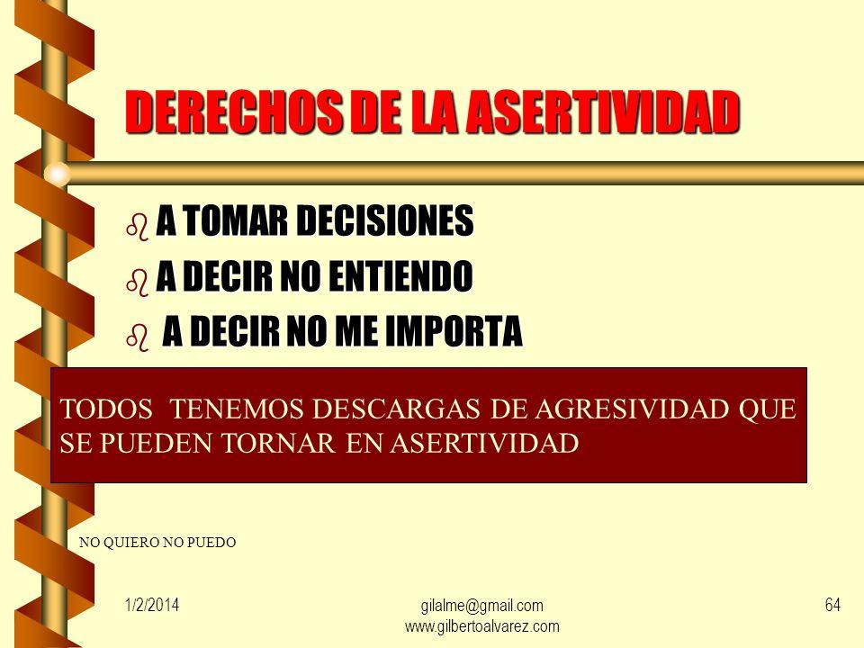 1/2/2014gilalme@gmail.com www.gilbertoalvarez.com 63 DERECHOS DE LA ASERTIVIDAD b A SER SU PROPIO JUEZ b A NO JUSTIFICAR b A JUZGAR SI INCUMBE RESPONS
