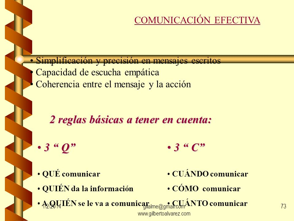 MECANISMOS DE COMUNICACIÓN Palabras Imágenes Acciones Gestos Contextos 1/2/201472gilalme@gmail.com www.gilbertoalvarez.com