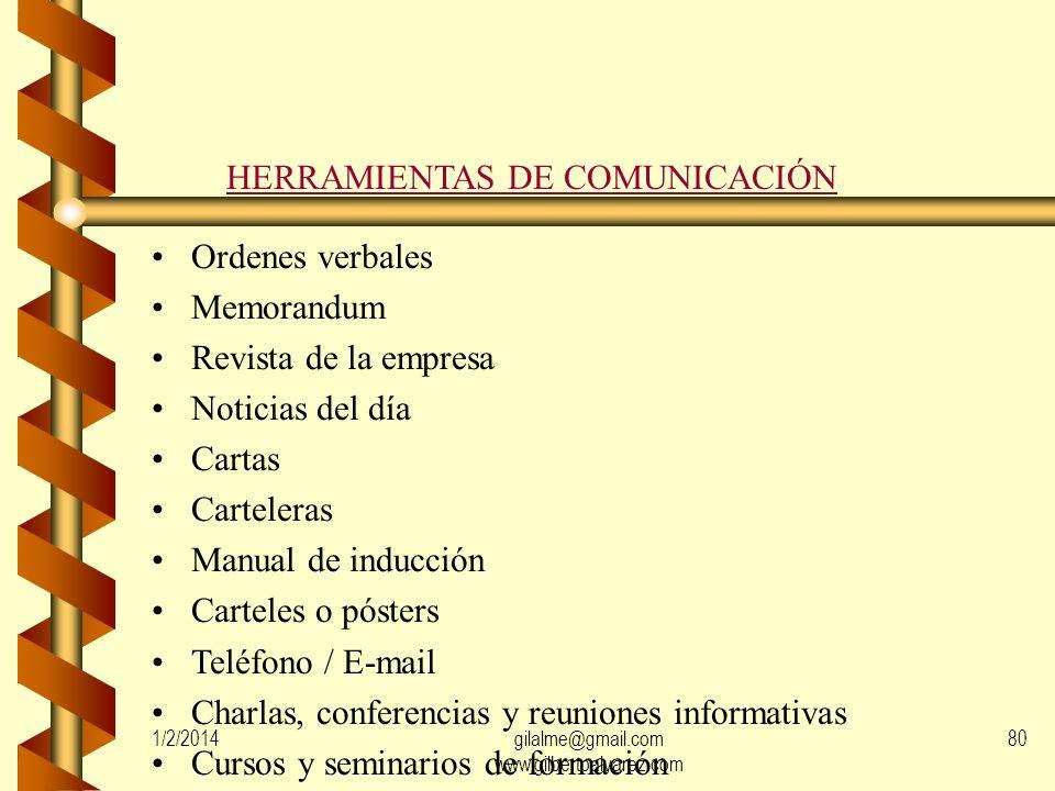 DESTINATARIOS DE LA COMUNICACIÓN Empleados Familiares Sindicatos Otros (mercado, medios, organismos públicos, etc.) 1/2/201479gilalme@gmail.com www.gi