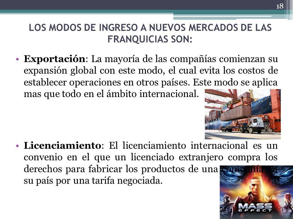 LOS MODOS DE INGRESO A NUEVOS MERCADOS DE LAS FRANQUICIAS SON: Exportación: La mayoría de las compañías comienzan su expansión global con este modo, e