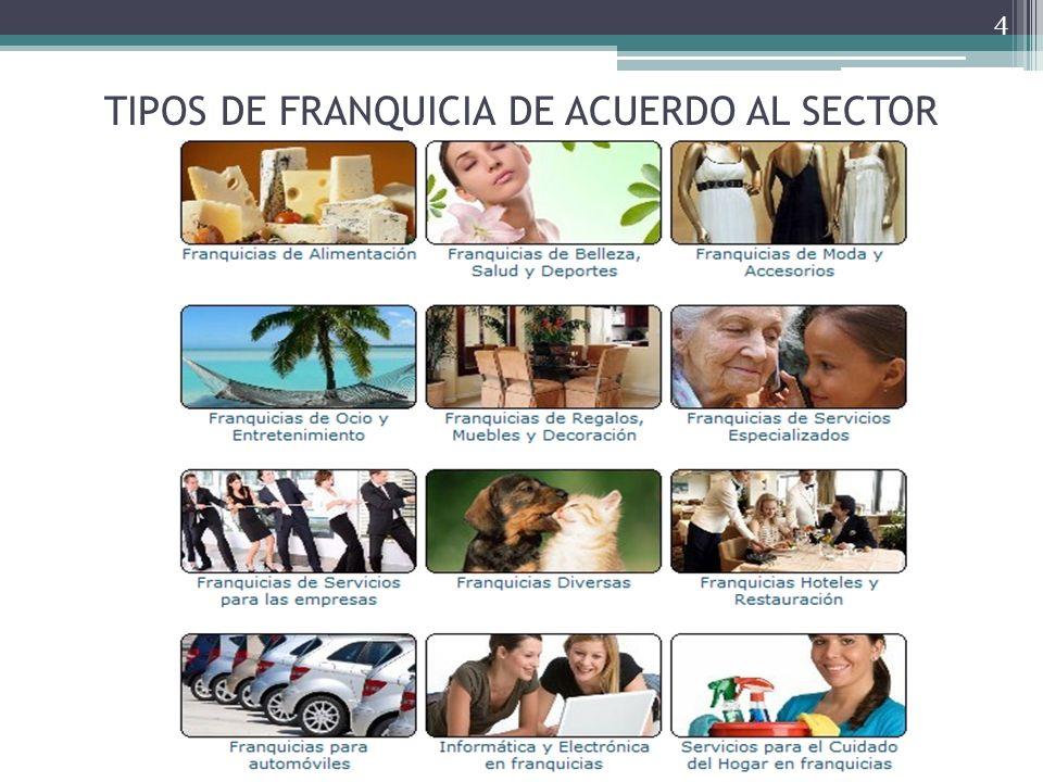 TIPOS DE FRANQUICIA DE ACUERDO AL SECTOR 4