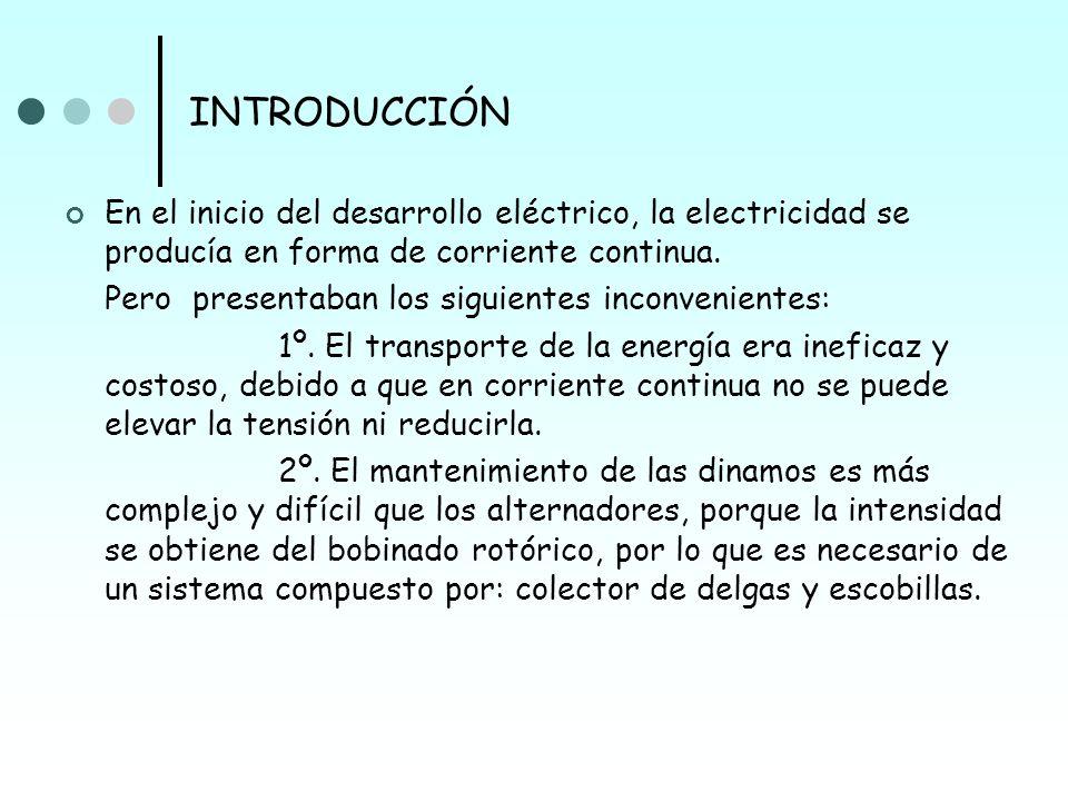 INTRODUCCIÓN En el inicio del desarrollo eléctrico, la electricidad se producía en forma de corriente continua. Pero presentaban los siguientes inconv