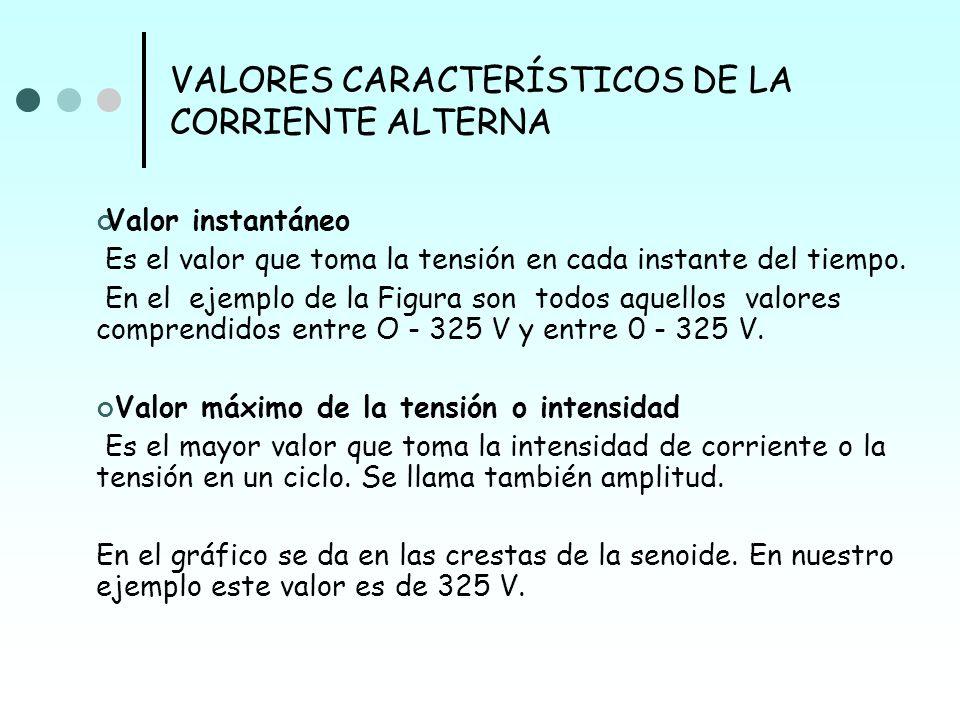 VALORES CARACTERÍSTICOS DE LA CORRIENTE ALTERNA Intensidad eficaz Es el valor (I) de una intensidad de corriente alterna que produce en un circuito la misma cantidad de calor por efecto Joule que una corriente continua de igual intensidad.