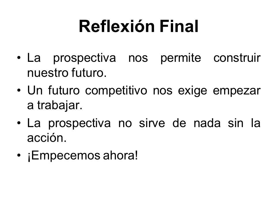Reflexión Final La prospectiva nos permite construir nuestro futuro. Un futuro competitivo nos exige empezar a trabajar. La prospectiva no sirve de na