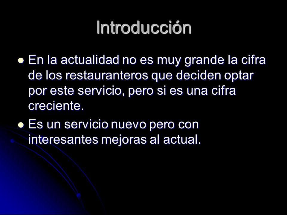 Introducción En la actualidad no es muy grande la cifra de los restauranteros que deciden optar por este servicio, pero si es una cifra creciente. En