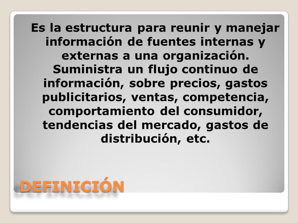 DEFINICIÓNDEFINICIÓN Es la estructura para reunir y manejar información de fuentes internas y externas a una organización. Suministra un flujo continu