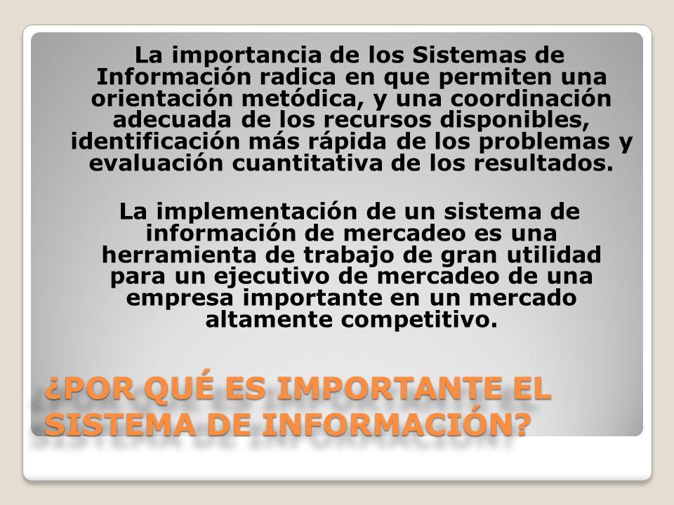 ¿POR QUÉ ES IMPORTANTE EL SISTEMA DE INFORMACIÓN? La importancia de los Sistemas de Información radica en que permiten una orientación metódica, y una