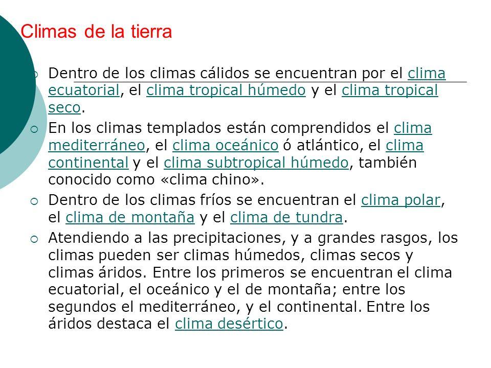 Climas de la tierra Dentro de los climas cálidos se encuentran por el clima ecuatorial, el clima tropical húmedo y el clima tropical seco.clima ecuato