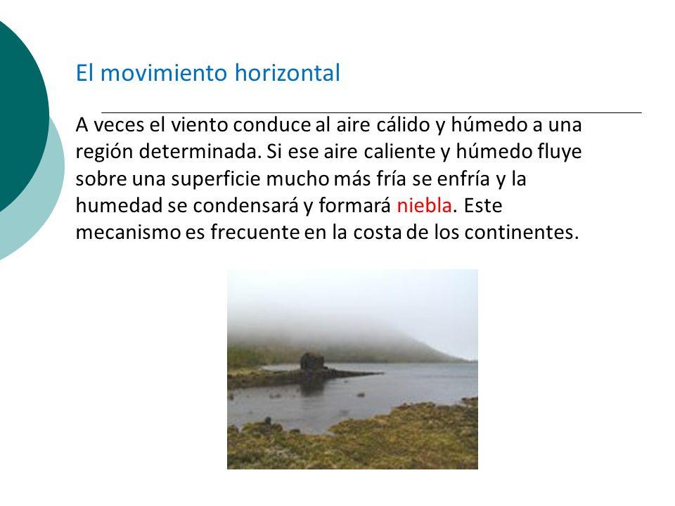 El movimiento horizontal A veces el viento conduce al aire cálido y húmedo a una región determinada. Si ese aire caliente y húmedo fluye sobre una sup