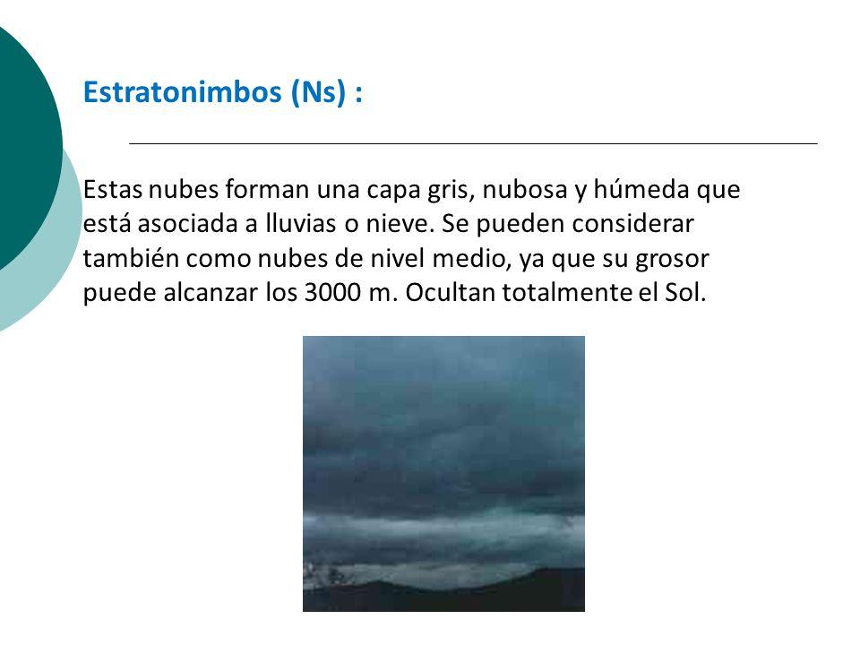 Estratonimbos (Ns) : Estas nubes forman una capa gris, nubosa y húmeda que está asociada a lluvias o nieve. Se pueden considerar también como nubes de