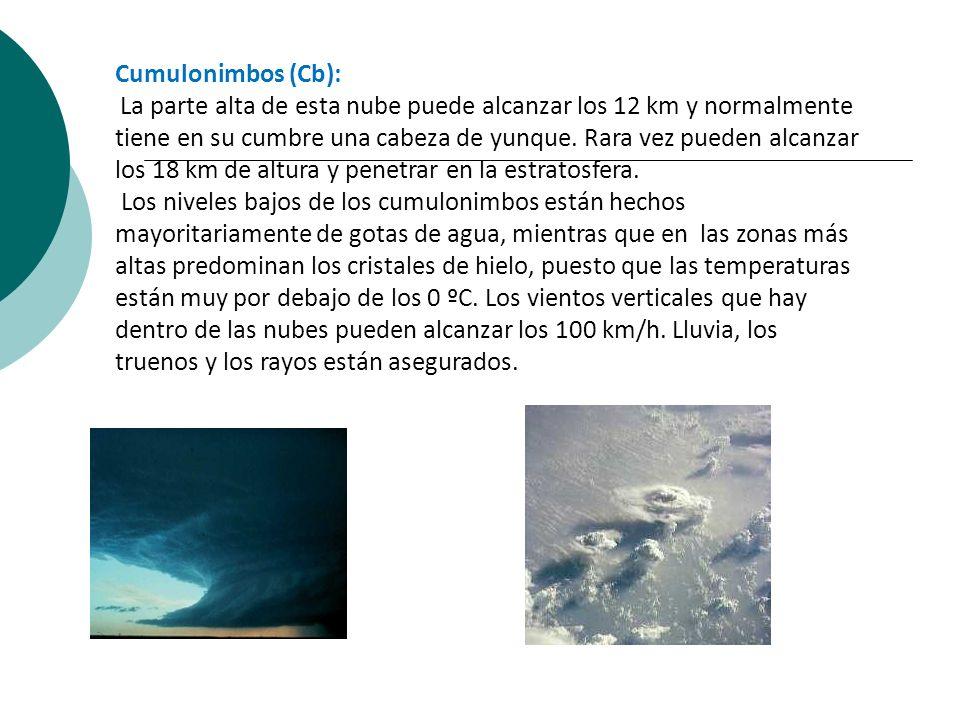 Cumulonimbos (Cb): La parte alta de esta nube puede alcanzar los 12 km y normalmente tiene en su cumbre una cabeza de yunque. Rara vez pueden alcanzar
