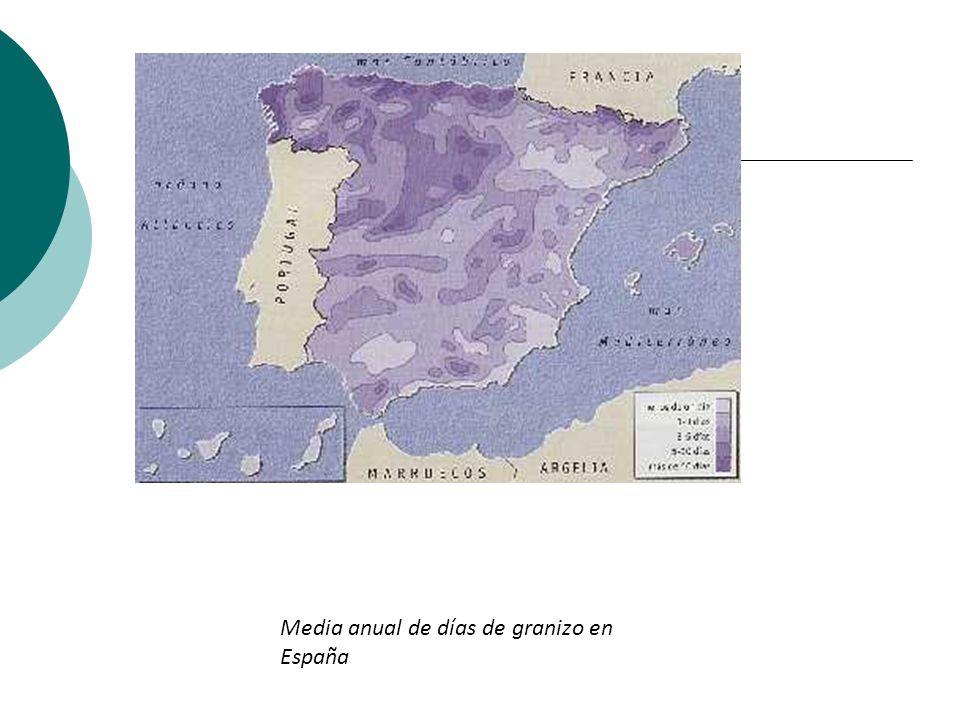 Media anual de días de granizo en España