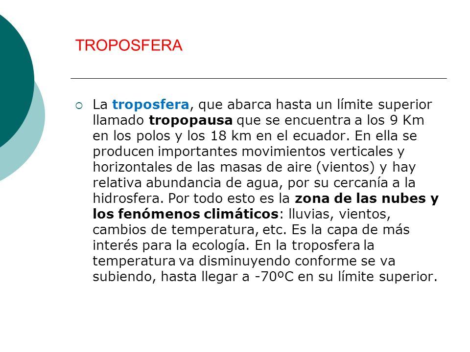 TROPOSFERA La troposfera, que abarca hasta un límite superior llamado tropopausa que se encuentra a los 9 Km en los polos y los 18 km en el ecuador. E