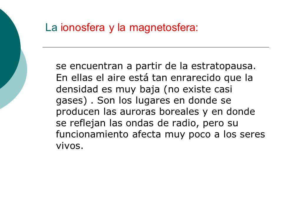 La ionosfera y la magnetosfera: se encuentran a partir de la estratopausa. En ellas el aire está tan enrarecido que la densidad es muy baja (no existe