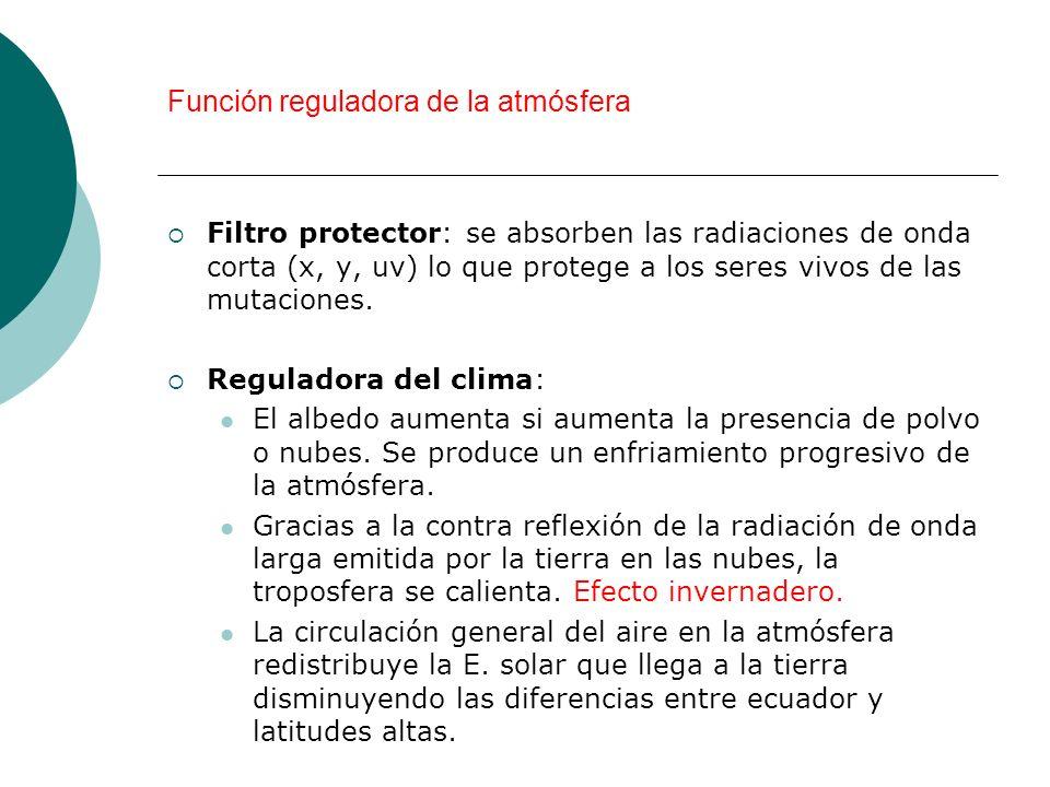 Función reguladora de la atmósfera Filtro protector: se absorben las radiaciones de onda corta (x, y, uv) lo que protege a los seres vivos de las muta