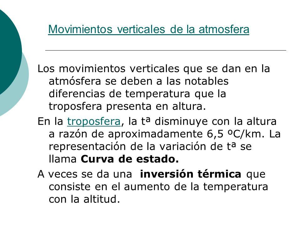 Movimientos verticales de la atmosfera Los movimientos verticales que se dan en la atmósfera se deben a las notables diferencias de temperatura que la