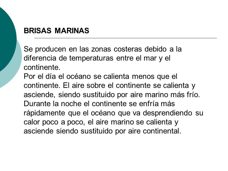 BRISAS MARINAS Se producen en las zonas costeras debido a la diferencia de temperaturas entre el mar y el continente. Por el día el océano se calienta