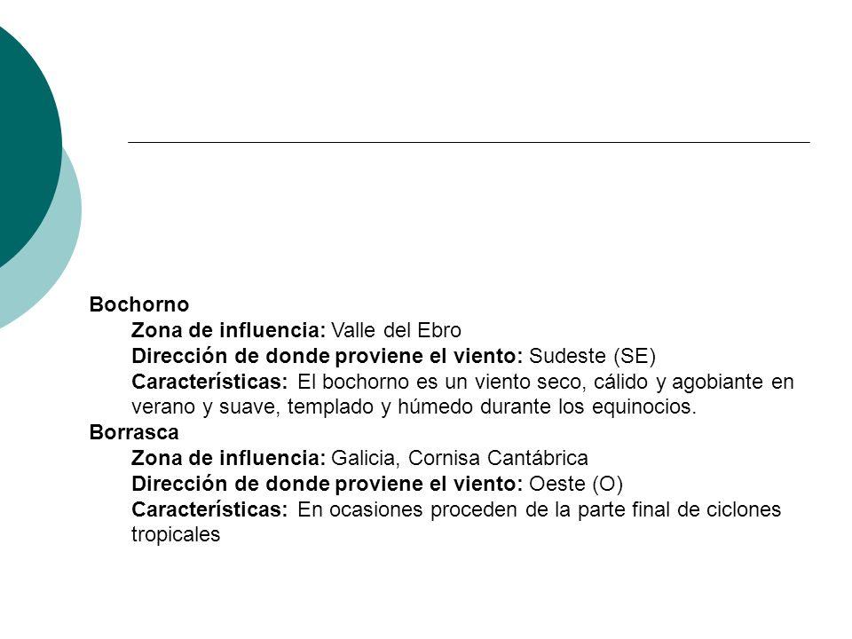 Bochorno Zona de influencia: Valle del Ebro Dirección de donde proviene el viento: Sudeste (SE) Características: El bochorno es un viento seco, cálido