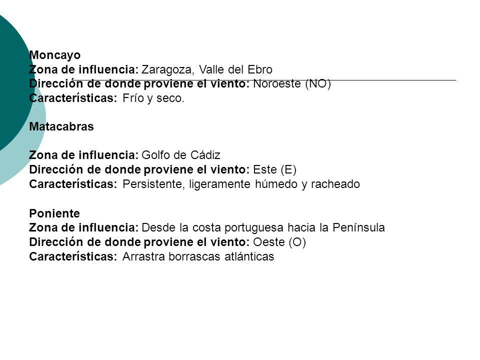 Matacabras Zona de influencia: Golfo de Cádiz Dirección de donde proviene el viento: Este (E) Características: Persistente, ligeramente húmedo y rache