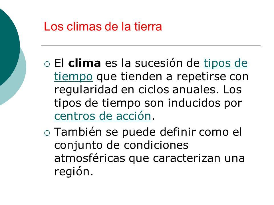 Los climas de la tierra El clima es la sucesión de tipos de tiempo que tienden a repetirse con regularidad en ciclos anuales. Los tipos de tiempo son