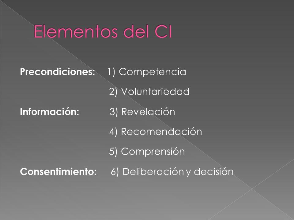 Precondiciones: 1) Competencia 2) Voluntariedad Información: 3) Revelación 4) Recomendación 5) Comprensión Consentimiento: 6) Deliberación y decisión