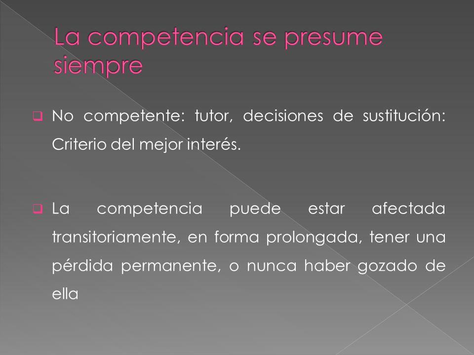No competente: tutor, decisiones de sustitución: Criterio del mejor interés. La competencia puede estar afectada transitoriamente, en forma prolongada